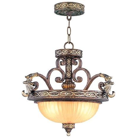 Amazon.com: livex iluminación 8544 Sevilla 2 Light Colgante ...