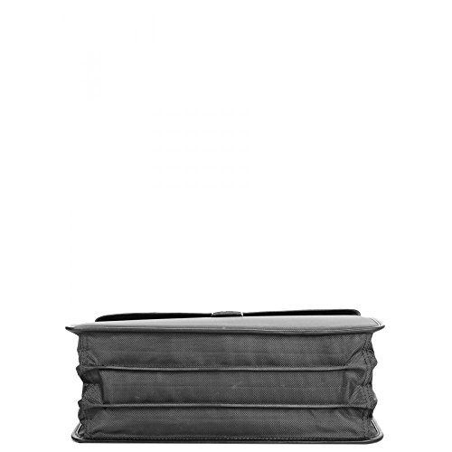 Charmoni–Maletín con tres compartimentos de nailon y cuero de piel de becerro negro
