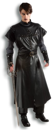 Rubie's Costume Co Deluxe Adult Dark Crusader Costume, Black, Standard (Mens Crusader Knight Costume)