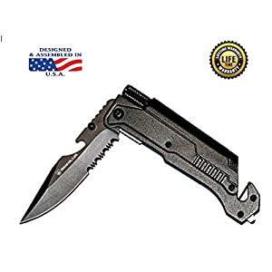 Shield-SD Survival Knife: Best 6-in-1 Tactical Pocket Folding Knife with LED Light, Belt Cutter, Glass Breaker, Magnesium Fire Starter, Bottle Opener; Military Grade Emergency Tool.!