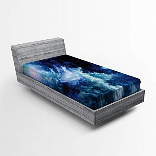 (Ambesonne Space Fitted Sheet, Nebula Gas Cloud on Celestial Sphere Universe Themed Infinity Design Galaxy Art Print, Soft Decorative Fabric Bedding All-Round Elastic Pocket, Twin Size, Blue)