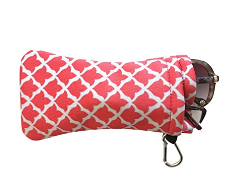Price comparison product image Double Eyeglass Pouch :: Sporty Style with Clip :: Soft and Slim Case by buti-bag (Coral Tulip)