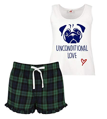 Azul Conjunto Pijama Pug Rojo Corto Verde Scottish Womens Ruffle Unconditional Love WR7BT