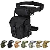 Injoy Multi-Purpose Tactical Drop Leg Bag Tool Fanny Thigh Pack Leg Rig Military Motorcycle Camera Versipack Utility Pouch, Black