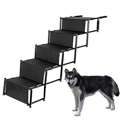 (Pet Dog Car Step Stairs, Accordion Folding Pet Ramp for Indoor Outdoor Use, Lightweight Portable Auto Large Dog Ladder, Great for Cars, Trucks and SUVs Cargo, Sailboat, Couch and High Bed, 5 Steps)