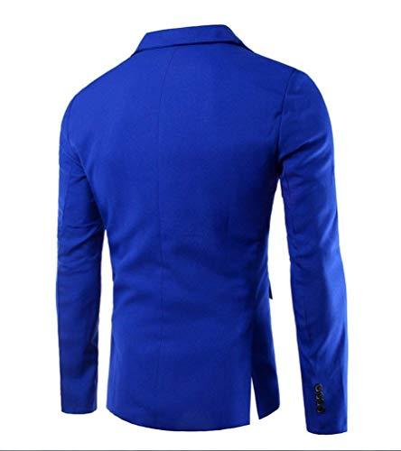 Suit Skinny A Jacket Fit Dunkel Con Button Leisure 1 Blau Slim Men Capispalla Uomo Da Business Chiusura Bottoni Blazer Iv0fxHH