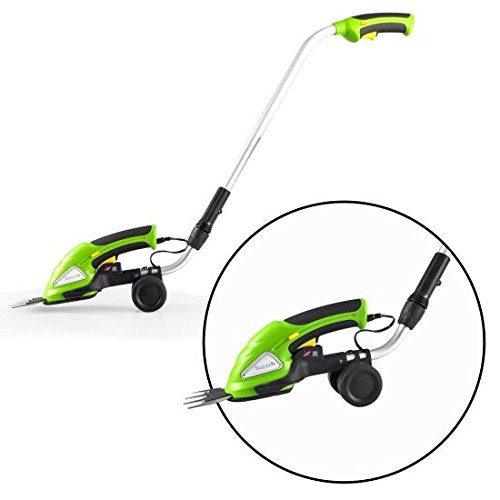 SereneLife Cordless Handheld Grass Cutter Shears, Electric Hedge Shrubber Trimmer, Built-in 3.6V Rechargeable Battery, Telescoping Roller Handle Arm (Changeable Blades)
