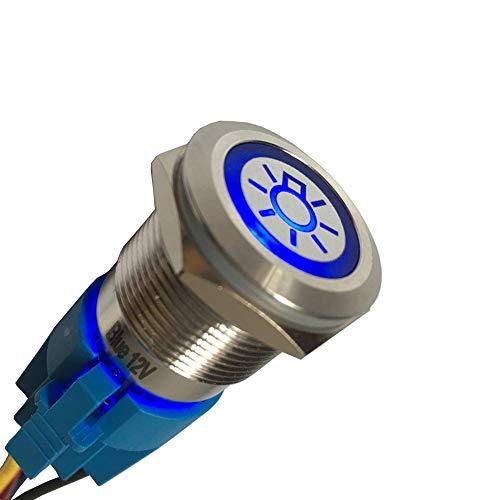 - Etopar 12V 5A 19mm Car Auto Blue LED Light Lamp Headlight Push Button Stainless Steel Metal Toggle Switch Socket Plug