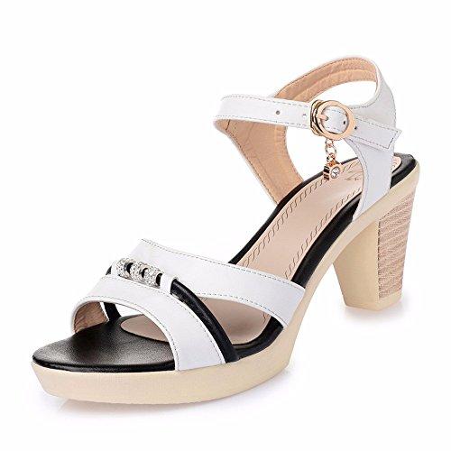 No. 55 Shoes Estate Tacco Ruvida Lady Sandali Mostra Sottile Impermeabile AD Alta Scarpe Tacco,US8/EU39/UK6/CN39,Bianco