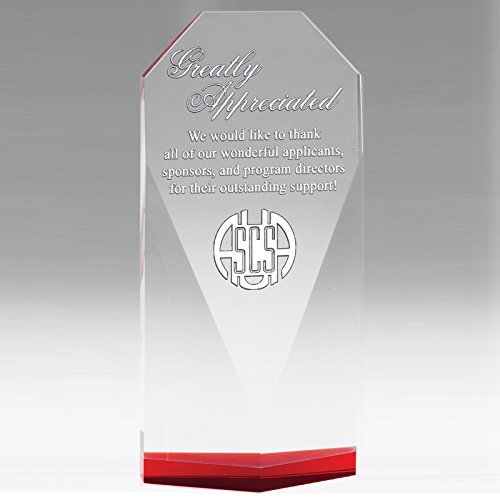 - Customizable 7-3/4 Inch Beveled Optical Crystal Tower Red Base, Comes Gift Boxed, Includes Personalization