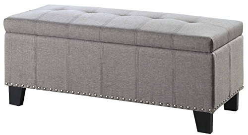 Homelegance Fedora Upholstered Ottoman with Tufted and Nail Head Accent, Grey