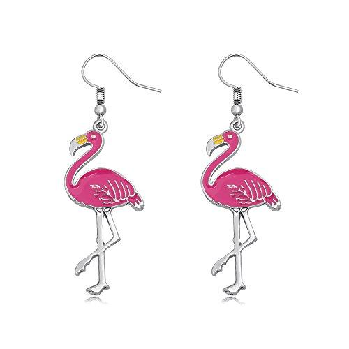 SENFAI Pink Enamel Flamingo Bird Dangle Earrings Black Tone (Silver)