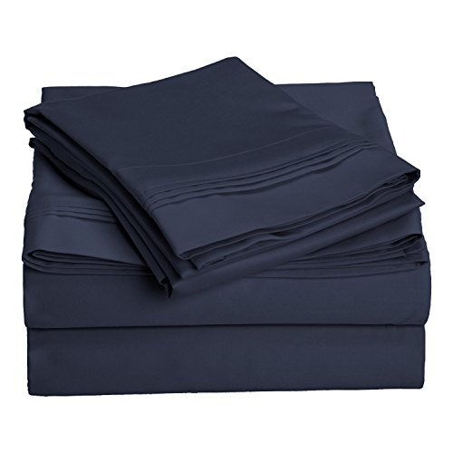 Blue Single Set (1000 Thread Count 100% Egyptian Cotton, King Bed Sheet Set, Single Ply, Solid, Navy Blue)