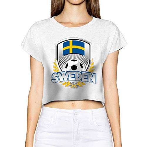 Household-items-Fly-shop Sweden Soccer 2019 Women's Cropped Top Leaking Navel T-Shirt