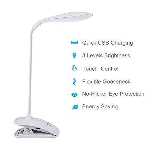 DEEPLITE Clip On Lamp, Battery Operated Reading Light for Desk, Bed Headboard, Flexible Gooseneck, 3 Level Brightness Adjustable, Touch Control