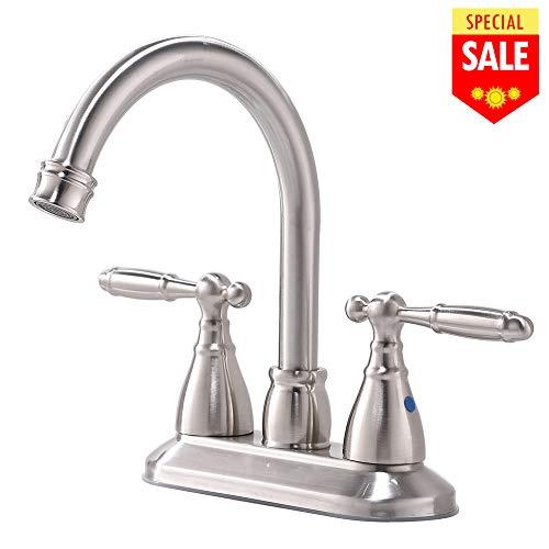 4' Center Bathroom Sink - VESLA HOME Modern Stainless Steel Two Handle Bathroom Faucet, Brushed Nickel Bathroom Vanity Sink Faucet without Drain