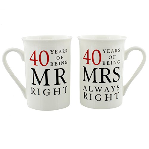 40th Anniversary Gift Set of 2 China Mugs 'Mr Right & Mrs Always Right (Anniversary Gifts For 40 Years)