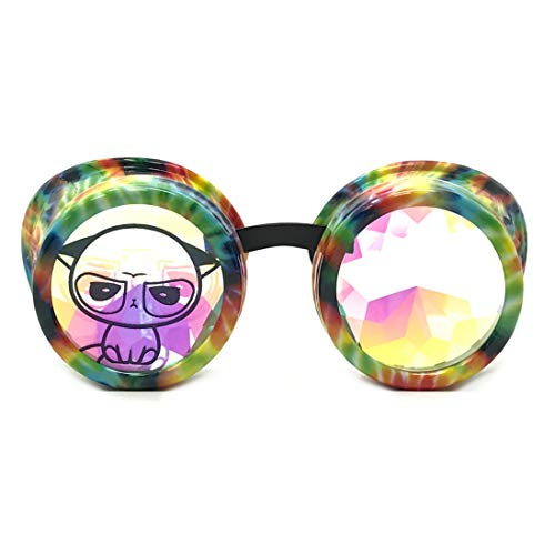 UMBRELLALABORATORY 3D Rainbow Prism Kaleidoscope Rave Glasses, Diffraction Steampunk Funny Goggles, Rainbow Cute Grumpy Cat Costume Accessories - Headband - Necklace]()