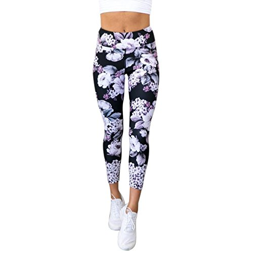 Snowfoller Women Floral Print Sports Athletic Pants High Waisted Tummy Control Fitness Leggings Gym Running Yoga Pants Trouser (M, Black) ()