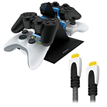 KONNET Power Pyramid Storage and Charging Station for PS3 and XBox 360, XBox Elite, XBox Slim plus Free Bundle with ExpressHD HDMI Cable 150