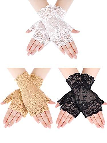 Sunblock Fingerless Lace Gloves Wrist Length Flower Gloves Bridal Wedding Gloves for Women Girls Prom Evening Wedding Party (Color Set 1) -