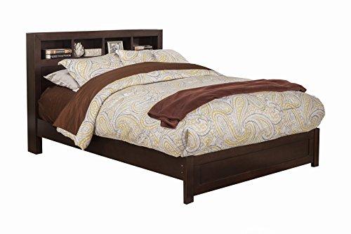 Birch Twin Bookcase - Benzara BM186143 Wooden Full Size Platform Bed with Bookcase Headboard, Brown