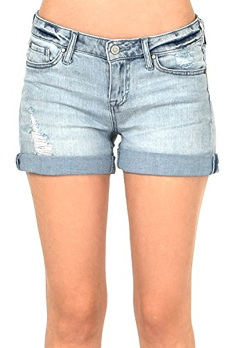 - Celebrity Pink Women's Juniors Low Rise Shorts with Rolled up Hem (7, Light Wash)