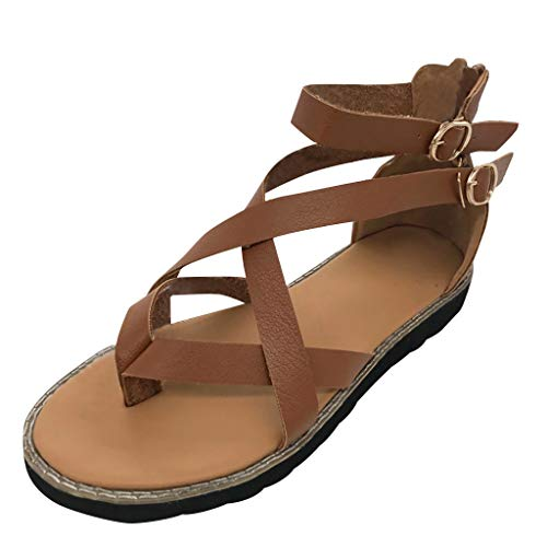 2019 New Women Casual Rome Soft Flats Sandals Shoes,Summer Outdoor Flip Flops Buckle Fashion Retro Comfy Wedge Shoes (Brown, US:5.5)