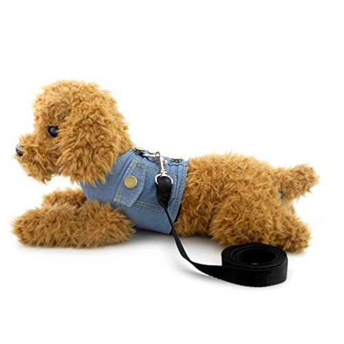 - SMALLLEE_LUCKY_STORE XY000335-Lightblue-L Dog/Cat Soft Mesh Leash No Pull Denim Vest Harness, Black, Large