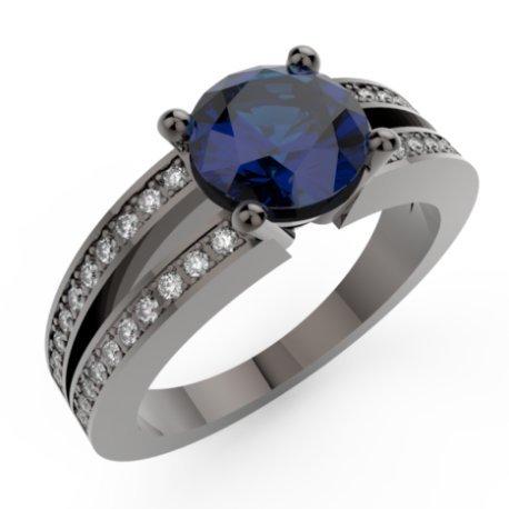 SURNESS Bagues Or Noir 18 carats Saphir Bleu 0,6 Rond