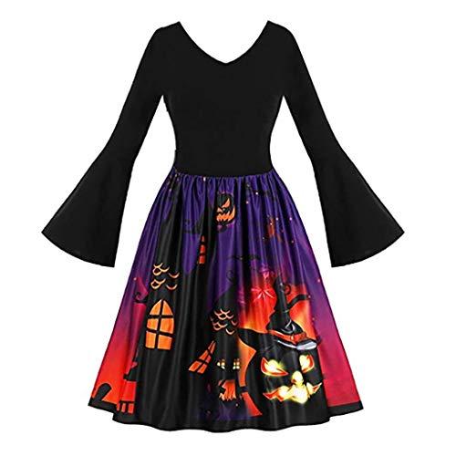 LODDD Women Long Sleeve Vintage Dress Pumpkins Ghost Print Halloween Evening Prom Costume Swing Dress ()