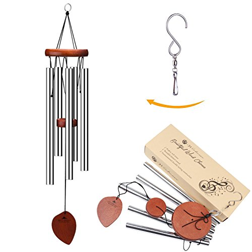 Metal Chimes (Wind Chimes, 5 Hollow Aluminum Metal Tubes Tuned 24'' Music Windchime with S Hook for Indoor and Outdoor)