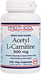 Protocol For Life Balance - Acetyl-L-Carnitine 500 mg - Transports Fatty Acids, Boosts Cellular Energy, Provides Cognitive Support - 100 Vcaps