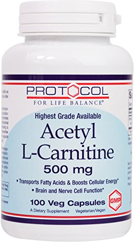 Protocol For Life Balance Acetyl L Carnitine 500 mg Helps Transport Fatty Acids to Reduce Unwanted Fat, Boosts Energy, Provides Cognitive Support, Enhances Performance & Recovery 100 Vcaps