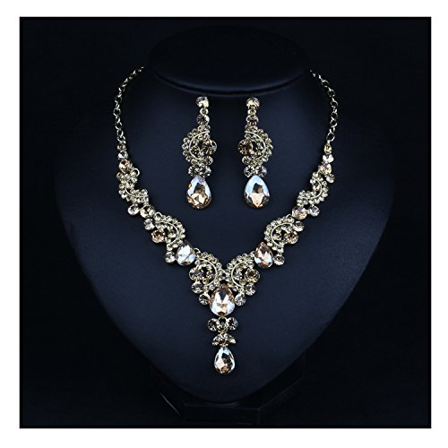 Hamer Costume jewelry Fashion Crystal Choker Pendant Statement Chain Charm Necklace and Earrings Sets Women (champagne)