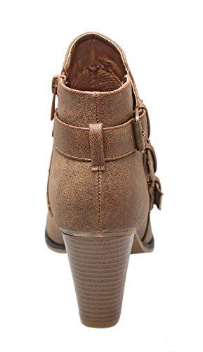 Strap Heel Ankle Block Booties Women's Forever Tan Buckle qCIvvw