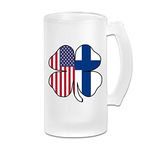 American Finland Flag Shamrock Frosted Glass Stein Beer Mug - Personalized Custom Pub Mug - 16 Oz Beverage Mug - Gift For Your Favorite Beer Drinker