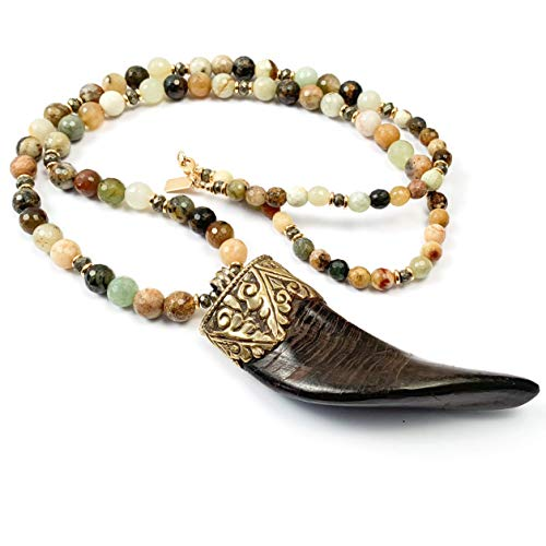 - Tibetan Ram's Horn Pendant Necklace with Flower Jade and Pyrite - 34 inches Handmade Necklace by Miller Mae Designs