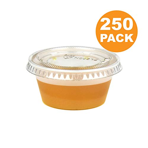 2 OZ Plastic Portion Cup with Clear Lids Disposable Jello Shots Sauce Condiment Souffle Dressing Mini Containers [250 Pack]