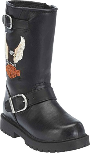 Harley-Davidson Big Kid's Faux Leather Engineer Boots. D61012 (Black, 7) -