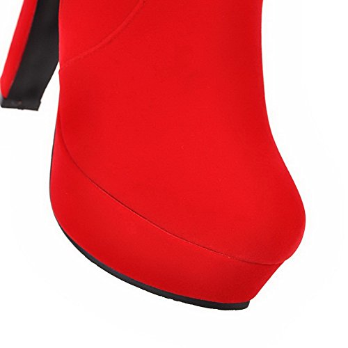 Heels High Imitated Women's Round Solid Suede Boots Closed Red Zipper Toe AgooLar 6qStnExwx
