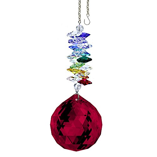 CrystalPlace Crystal Ornament 4.5 inch Swarovski Prisms Red Faceted Ball Prism Crystal Sun Catcher