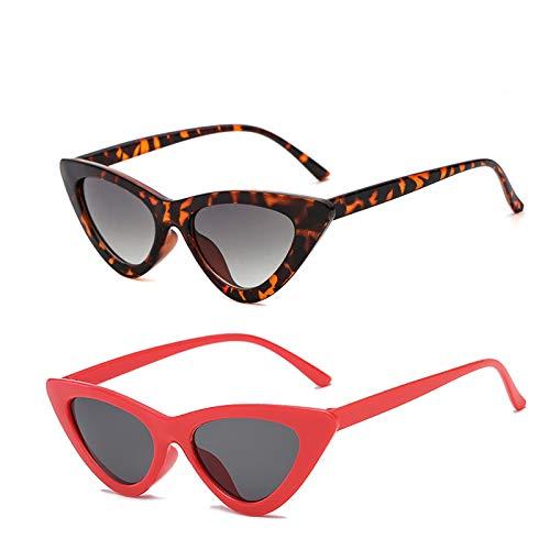YOSHYA Retro Vintage Narrow Cat Eye Sunglasses for Women Clout Goggles Plastic Frame (Leoaprd Grey + Red ()