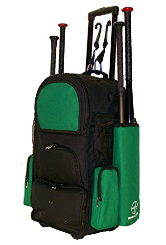 New Design Vista CTR in Black and Kelly Green Softball Baseball Bat Equipment Roller Backpack with Innovative Removable Bat Sleeves, Embroidery Patch and Pull out Handle by MAXOPS