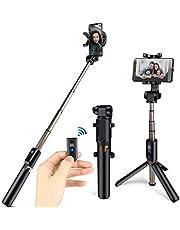 HOMVILLA Bluetooth Selfie Stick Stativ, 3 in 1 Erweiterbar Monopod Wireless Selfie Stange Stab 360°Rotation mit Bluetooth Fernauslöse für iPhone Android Samsung 3,5-6 Zoll Smartphones