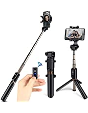 HOMVILLA Palo Selfie Trípode con Sontrol Remoto, 3 en 1 Mini Bolsillo Extensible Monopod Inalámbrico Bluetooth Selfie Stick