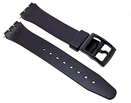 plastic band bands total repair watch black for collections replacement straps fits watches swatch image