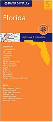 Florida State Map With Highways.Rand Mcnally Florida Highways Interstates State Maps Usa Rand