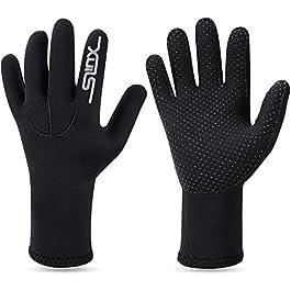 QKURT 3mm néoprène Stretch Gloves-Gants de plongée Chauds de plongée Gants, Adulte Cinq Doigts de plongée Gants…