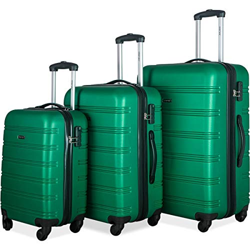 Merax Mellowdy 3 Piece Set Spinner Luggage Expandable Travel Suitcase 20 24 28 inch (green)